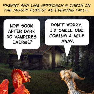 Phenny and Ling approach the cabin in the woods